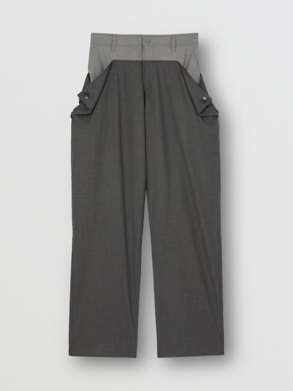 Press-stud Detail Tonal Wool Trousers in Charcoal Grey