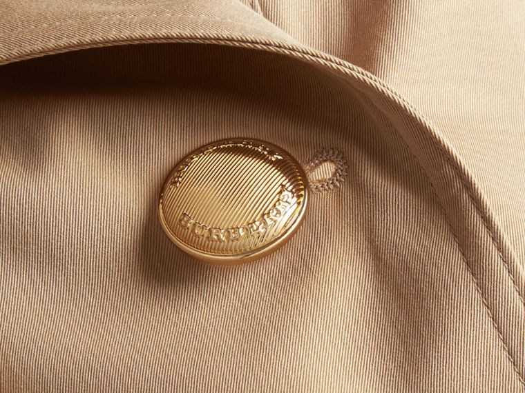 Honey Leather Detail Cotton Gabardine Trench Jacket - cell image 1