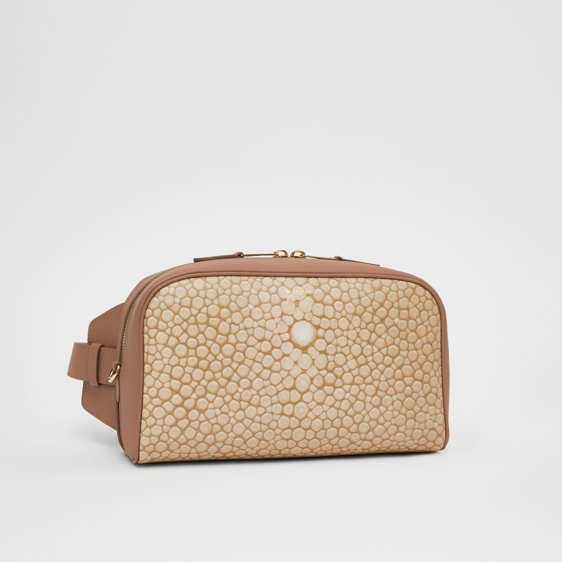Fish-scale Print and Leather Cube Bum Bag in Light Sand - Women | Burberry Australia - gallery image 4
