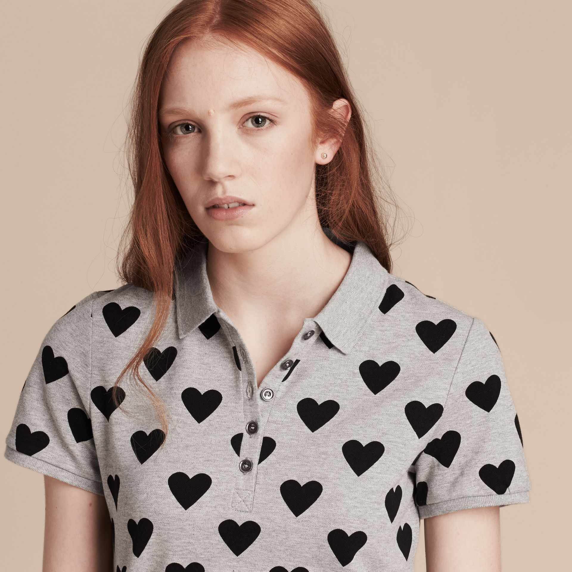 Heart Print Stretch Cotton Piqué Polo Shirt in Grey - gallery image 5