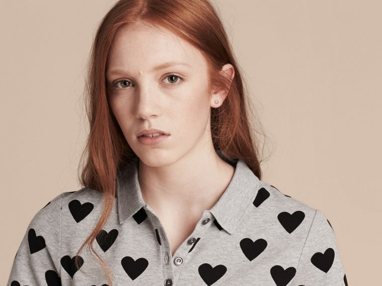 Heart Print Stretch Cotton Piqué Polo Shirt in Grey - cell image 4