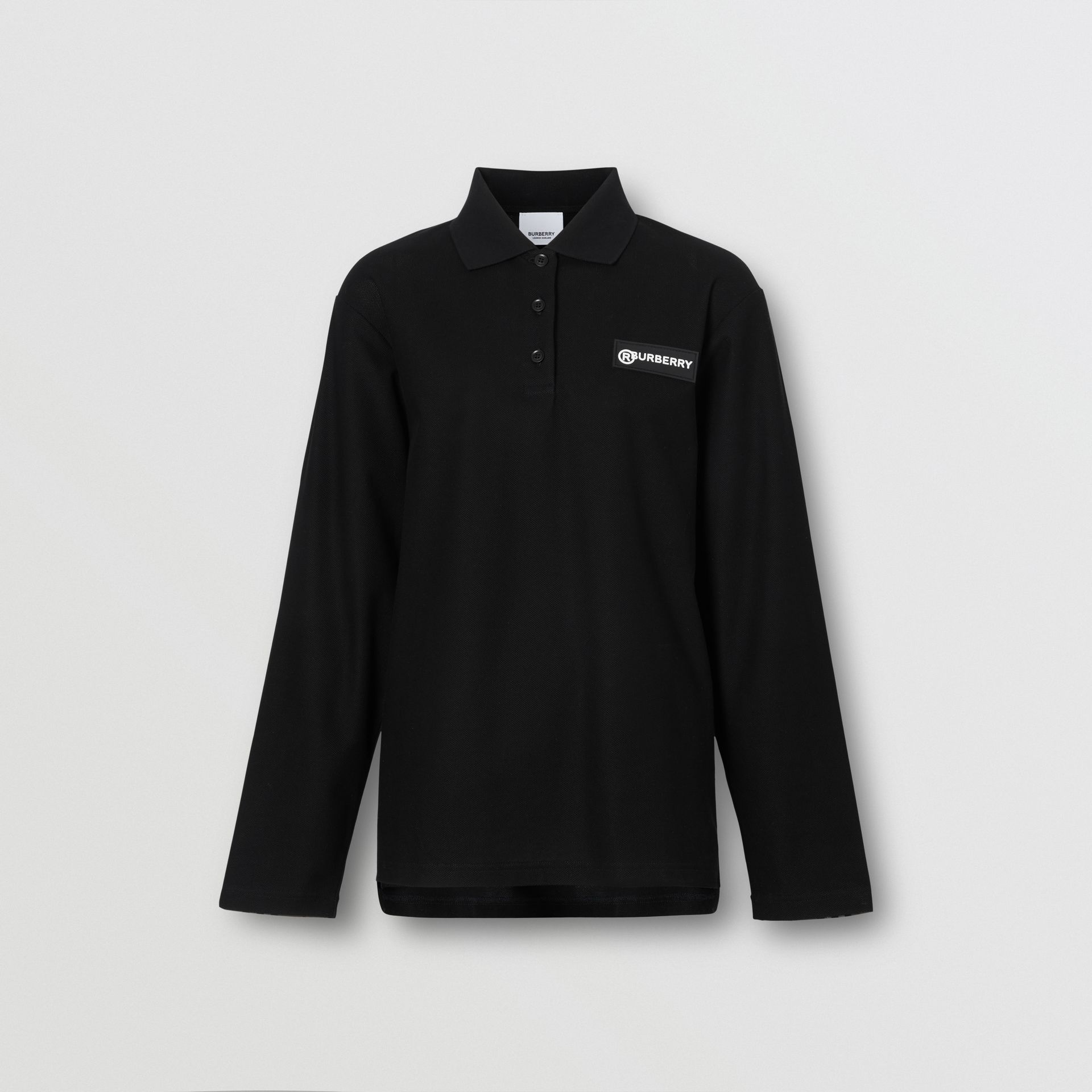 Long-sleeve Vintage Check Panel Oversized Polo Shirt in Black - Women | Burberry United Kingdom - gallery image 3