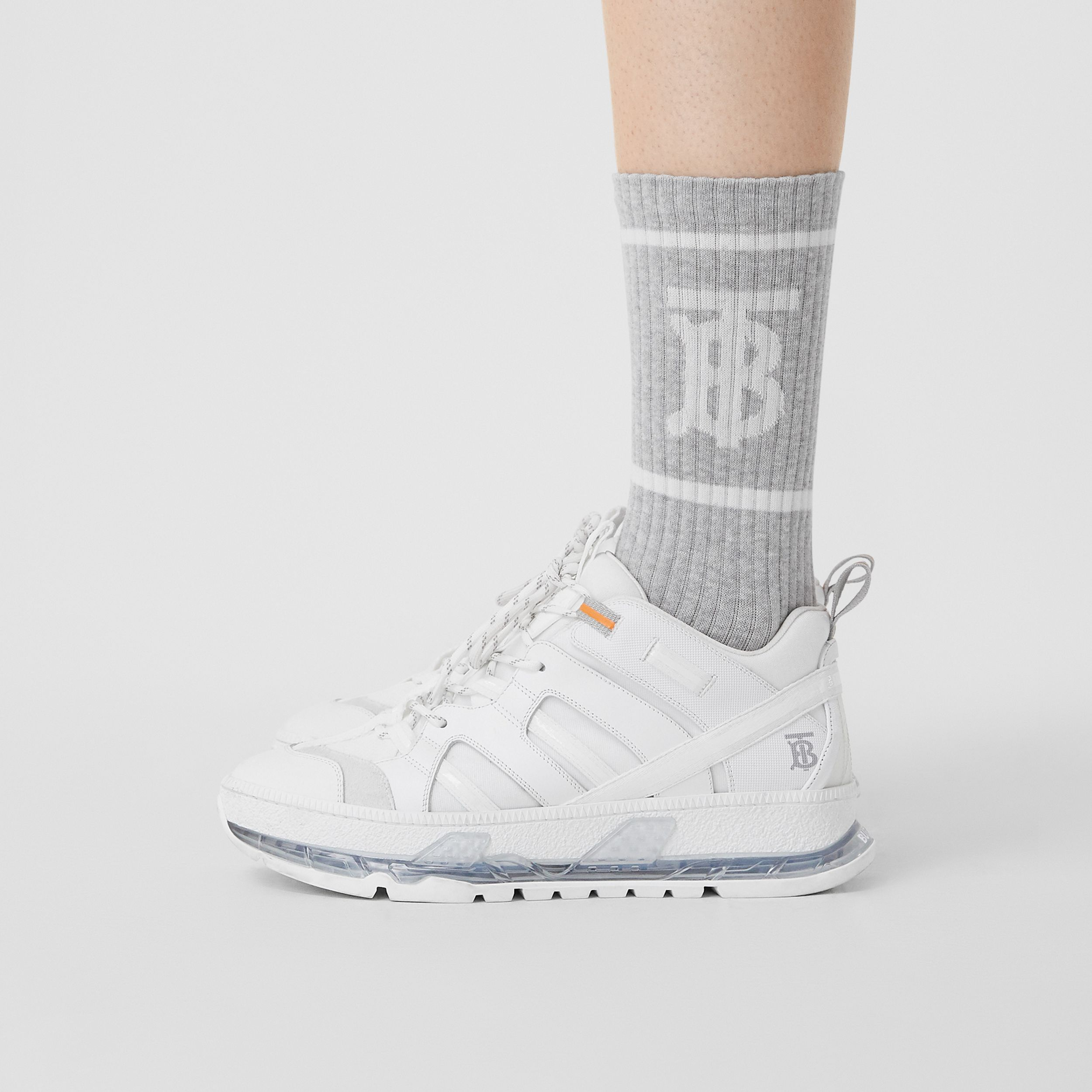 Monogram Motif Intarsia Socks in Pebble Grey | Burberry Singapore - 3