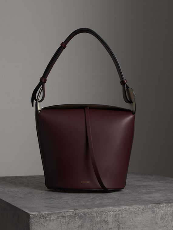 Sac The Bucket moyen en cuir (Bordeaux Intense)