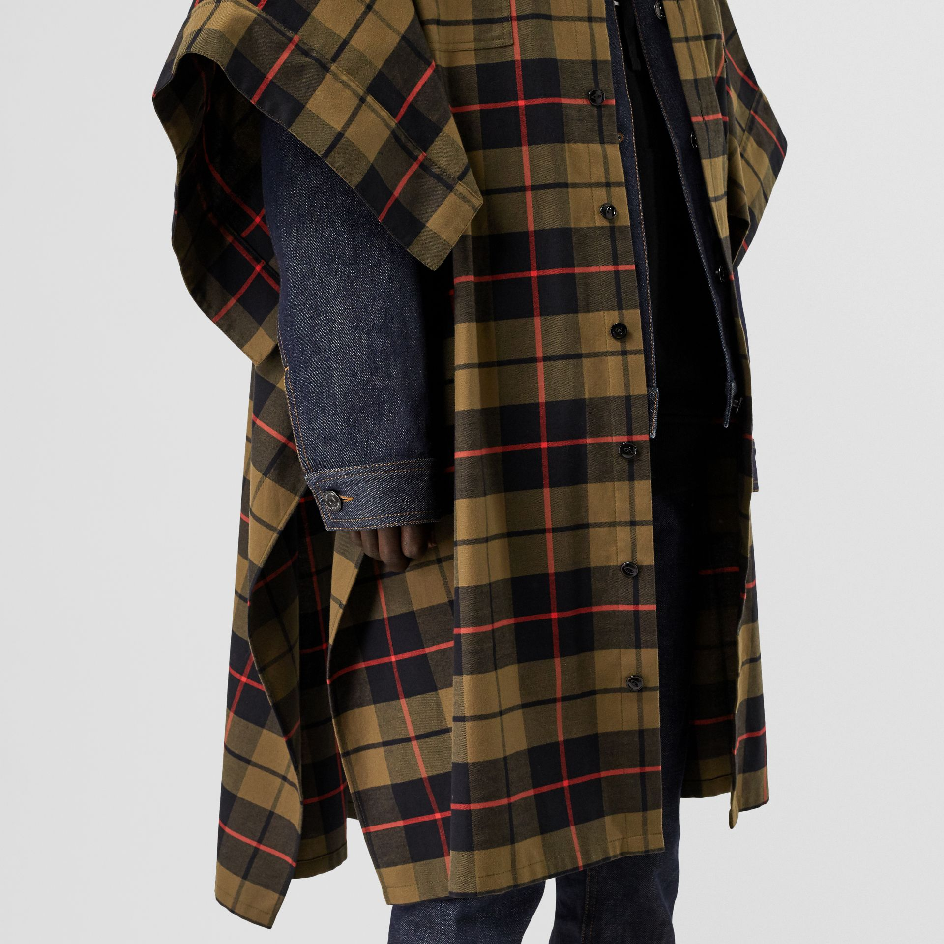 Monogram Motif Check Cotton Oversized Poncho in Military Olive | Burberry - gallery image 4