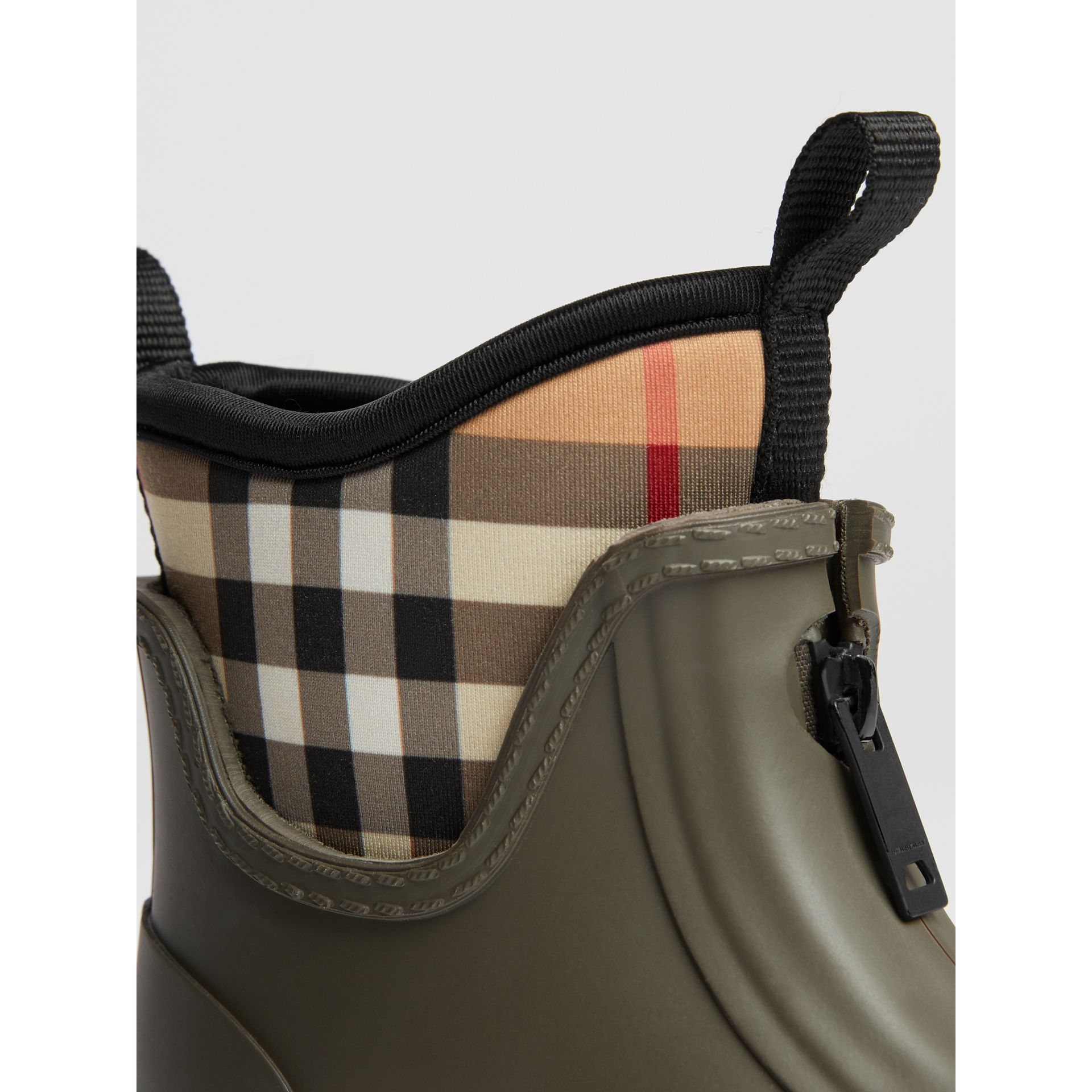 Vintage Check Neoprene and Rubber Rain Boots in Military Green | Burberry Hong Kong - gallery image 1