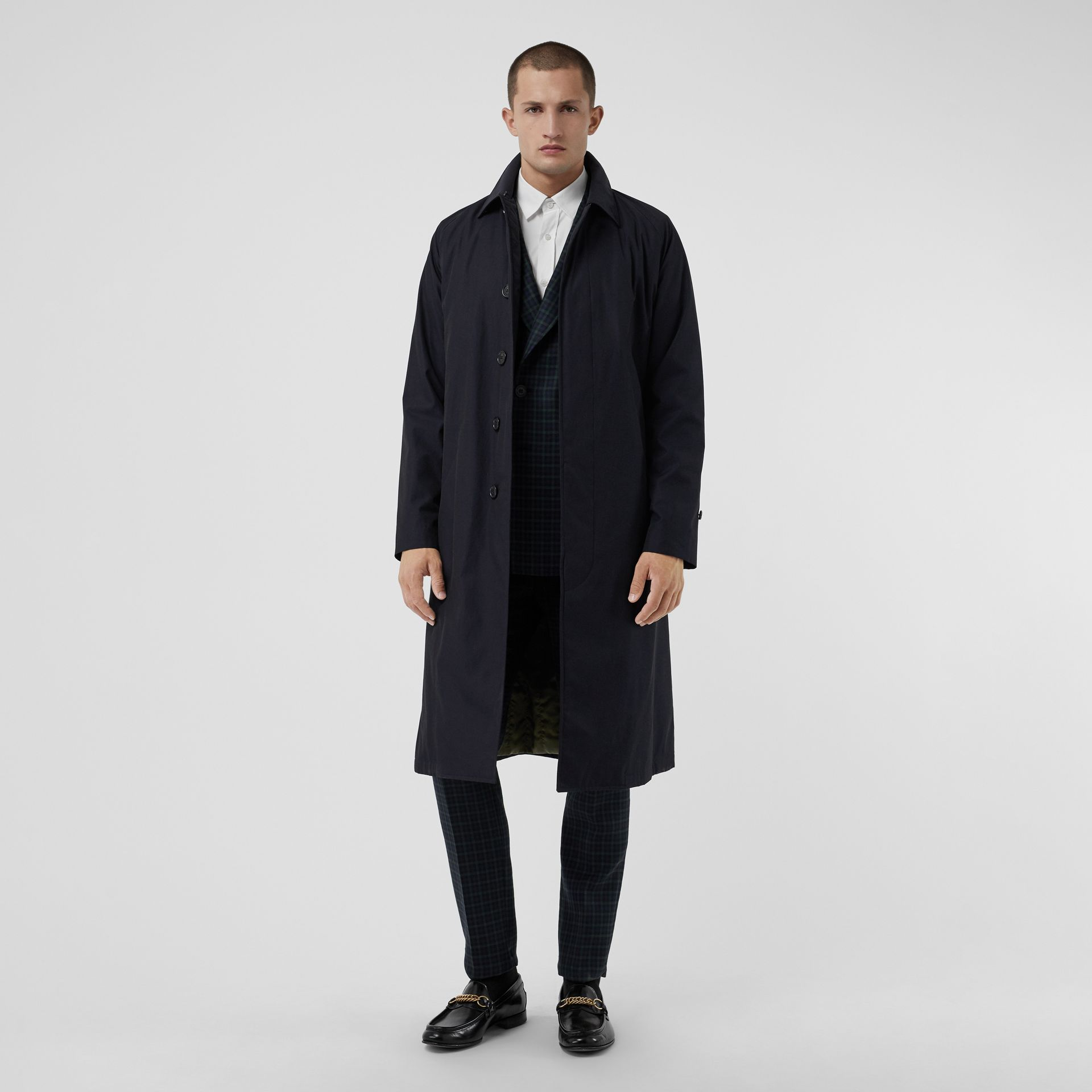 Quilt-lined Tropical Gabardine Belted Car Coat in Blue Carbon - Men | Burberry - gallery image 0