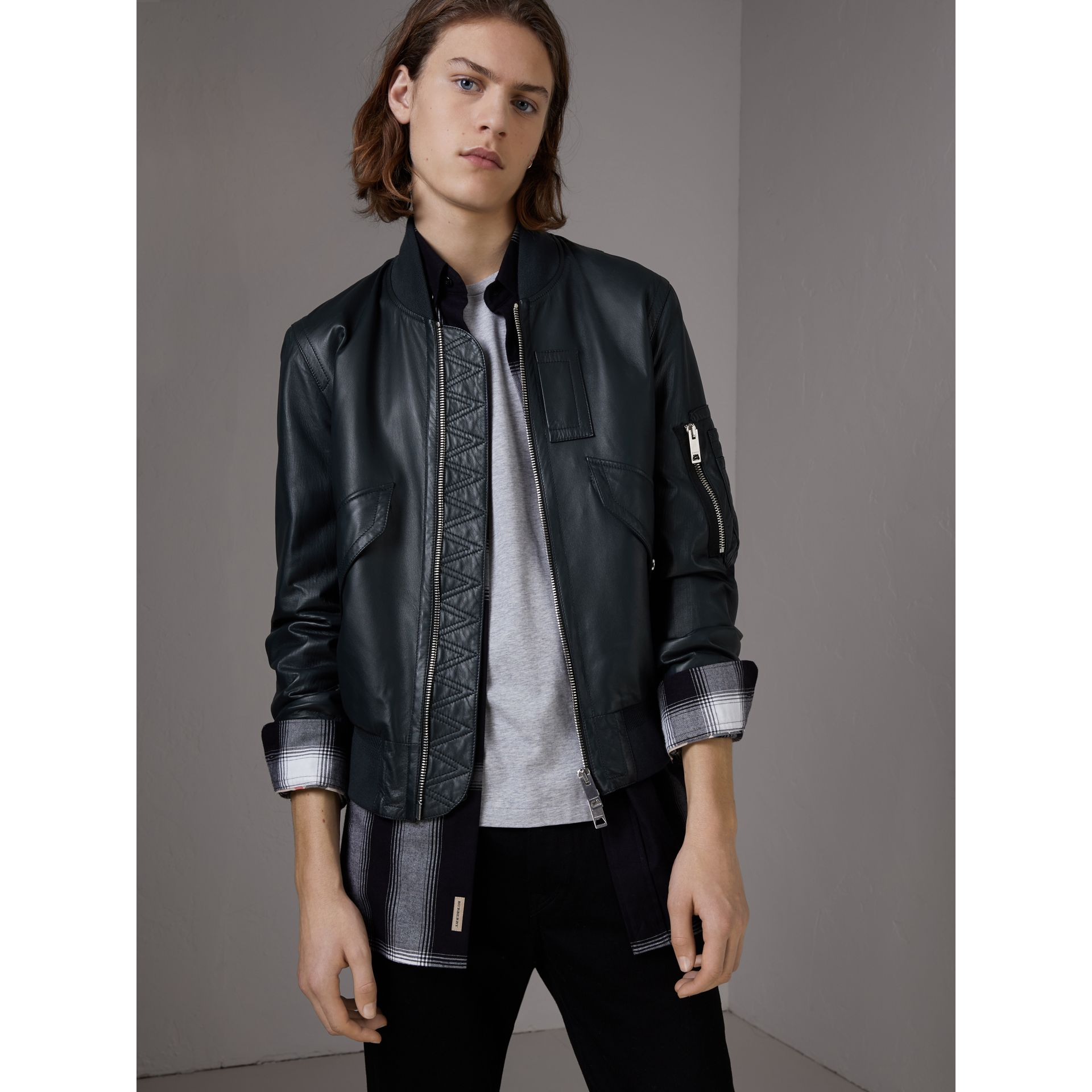 Lambskin Bomber Jacket in Navy - Men | Burberry - gallery image 0