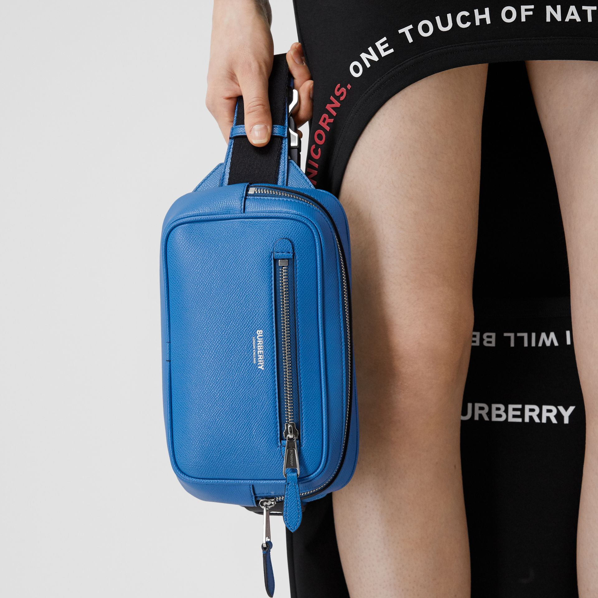 Grainy Leather Bum Bag in True Blue - Men | Burberry United States - gallery image 11