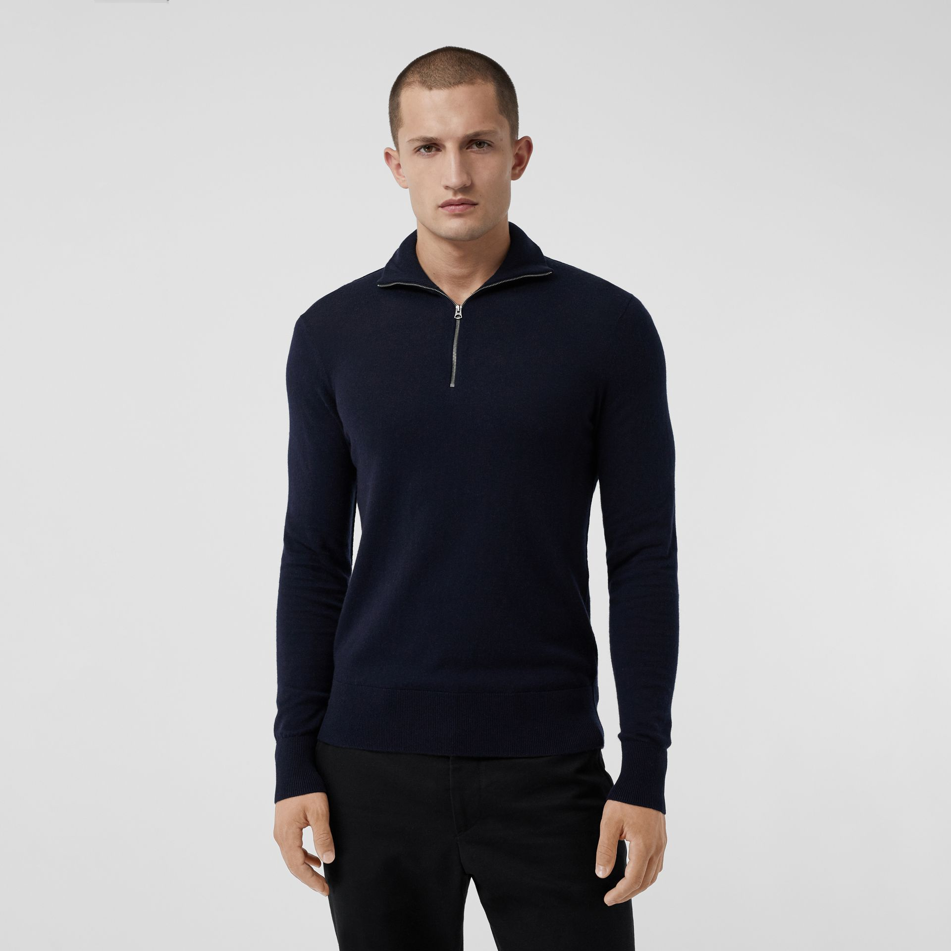 Zip-neck Cashmere Cotton Sweater in Navy - Men | Burberry Singapore - gallery image 0