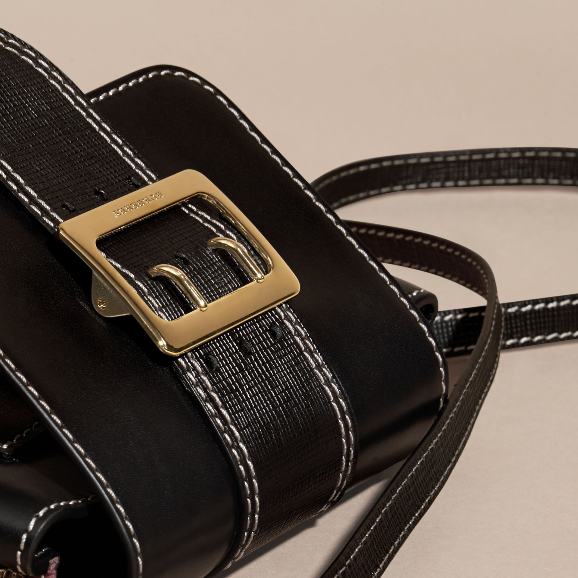 Black The Medium Buckle Bag – Square in Leather and House Check - gallery image 2
