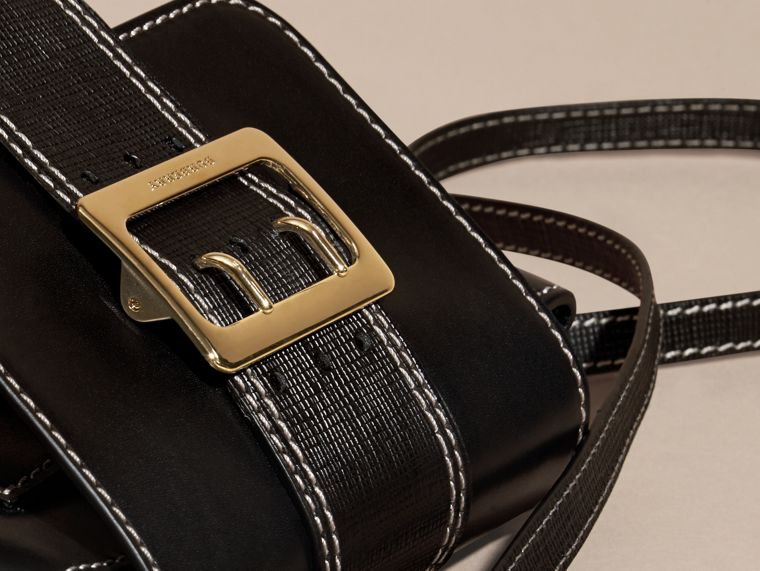 Black The Medium Buckle Bag – Square in Leather and House Check - cell image 1