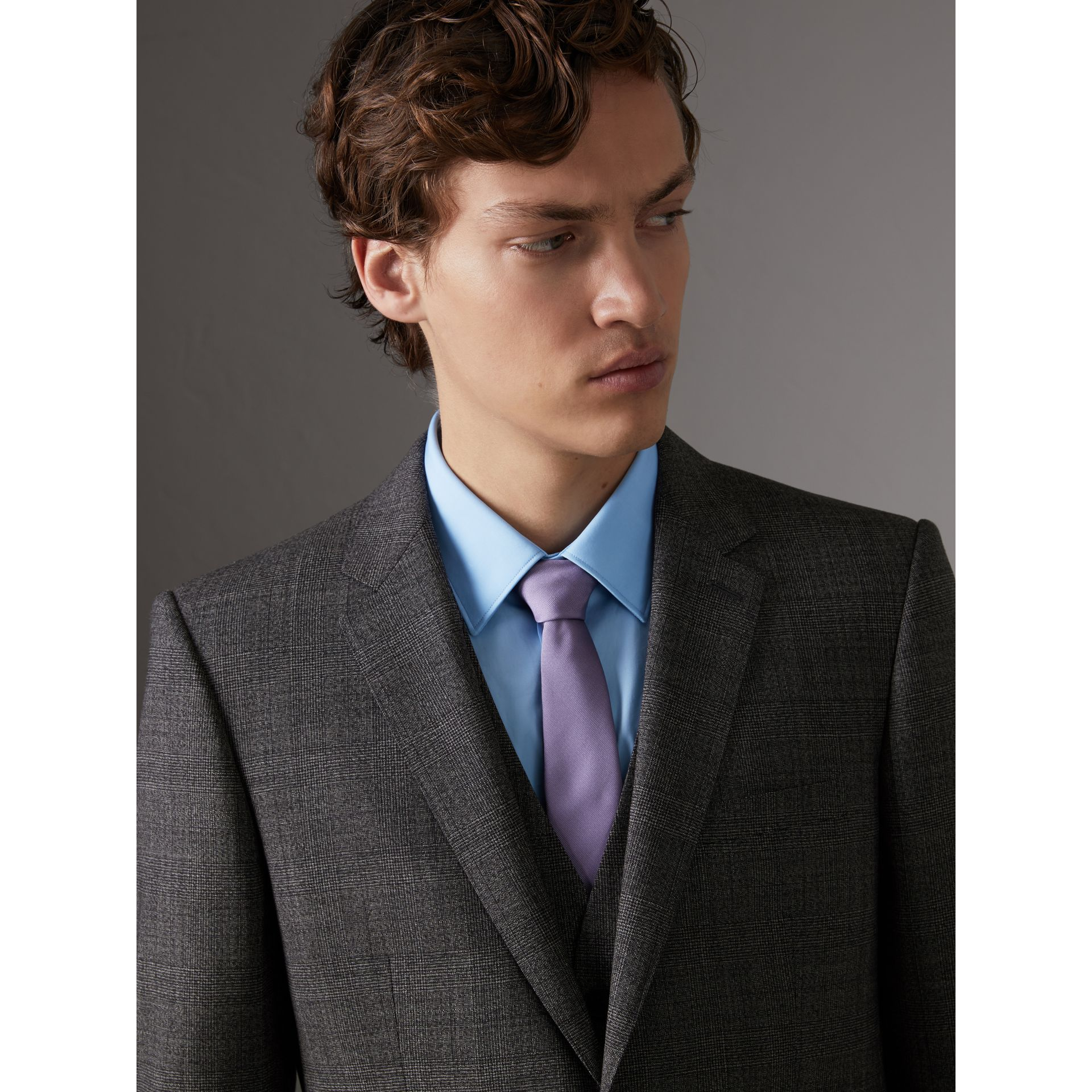 Slim Cut Check Silk Twill Tie in Lilac - Men | Burberry - gallery image 3