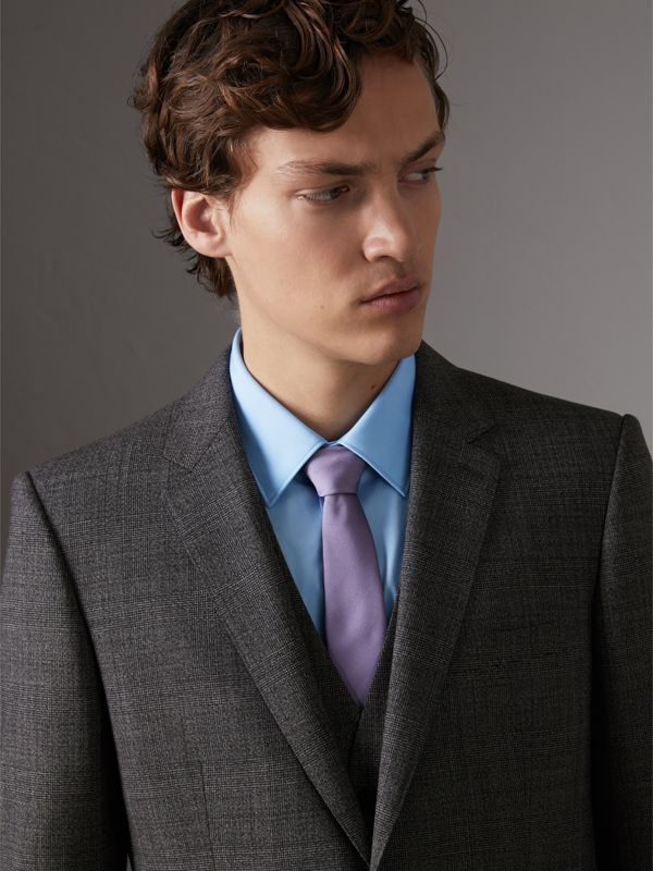Slim Cut Check Silk Twill Tie in Lilac - Men | Burberry - cell image 2