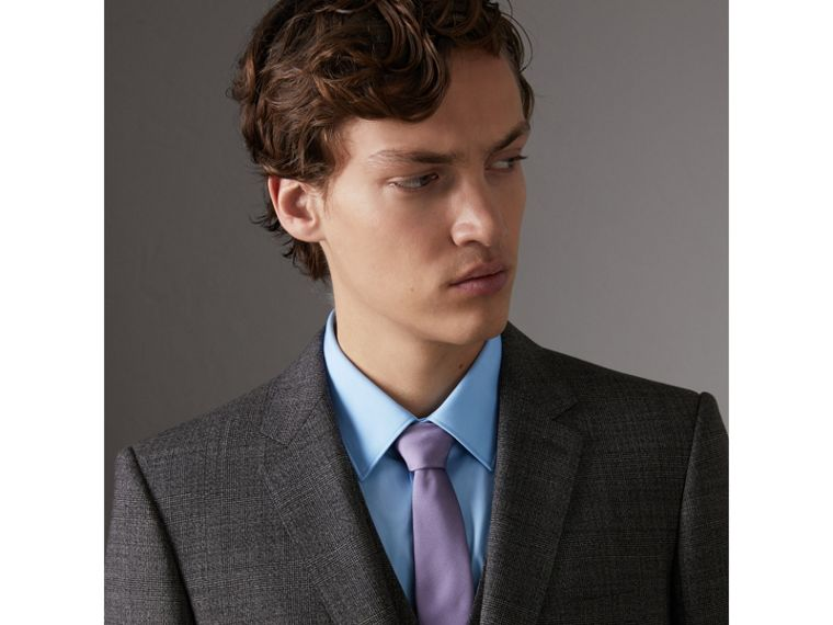 Slim Cut Check Silk Twill Tie in Lilac - Men | Burberry United States - cell image 2