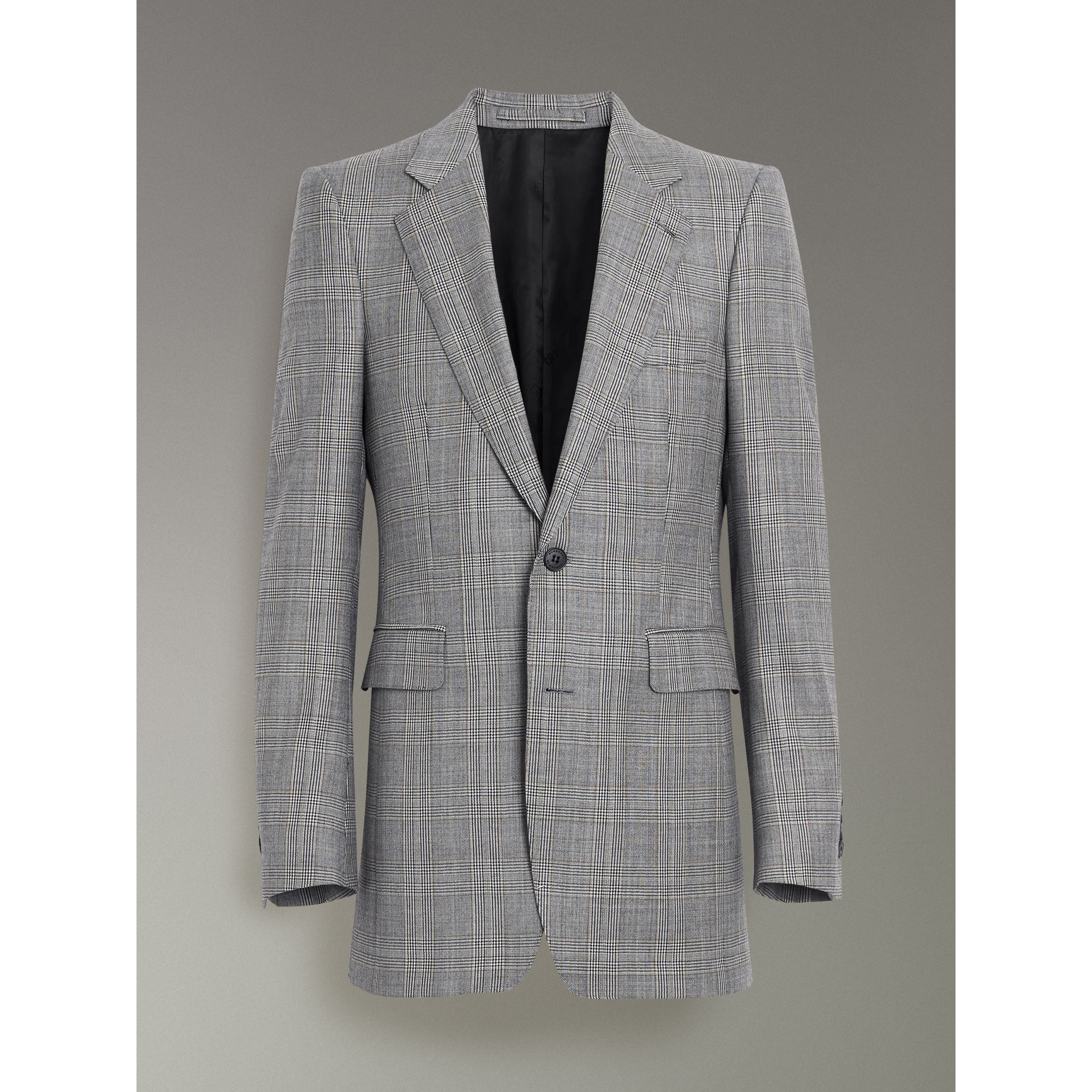 Slim Fit Prince of Wales Check Wool Cashmere Suit in Mid Grey - Men | Burberry - gallery image 3