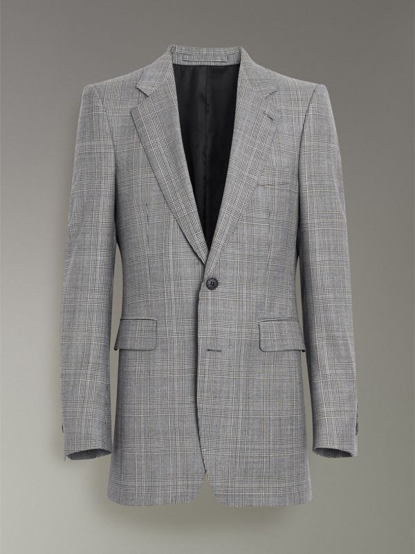 Slim Fit Prince of Wales Check Wool Cashmere Suit in Mid Grey - Men | Burberry - cell image 3