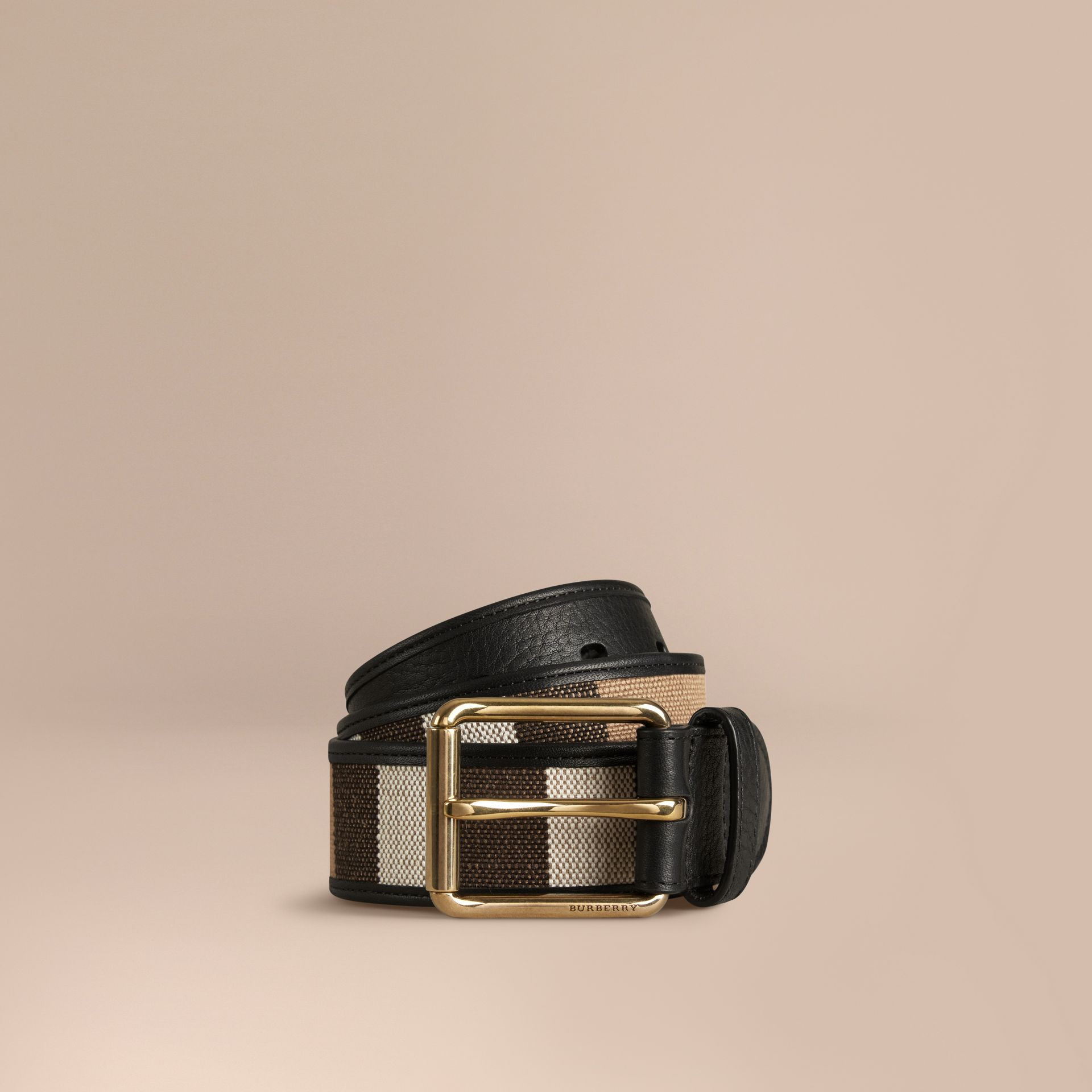 Canvas Check and Leather Belt - gallery image 1