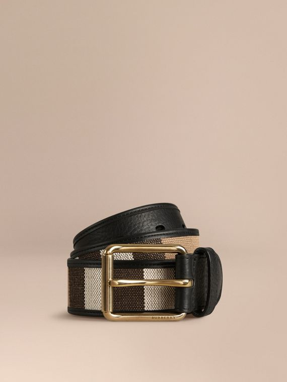 Canvas Check and Leather Belt - Men | Burberry
