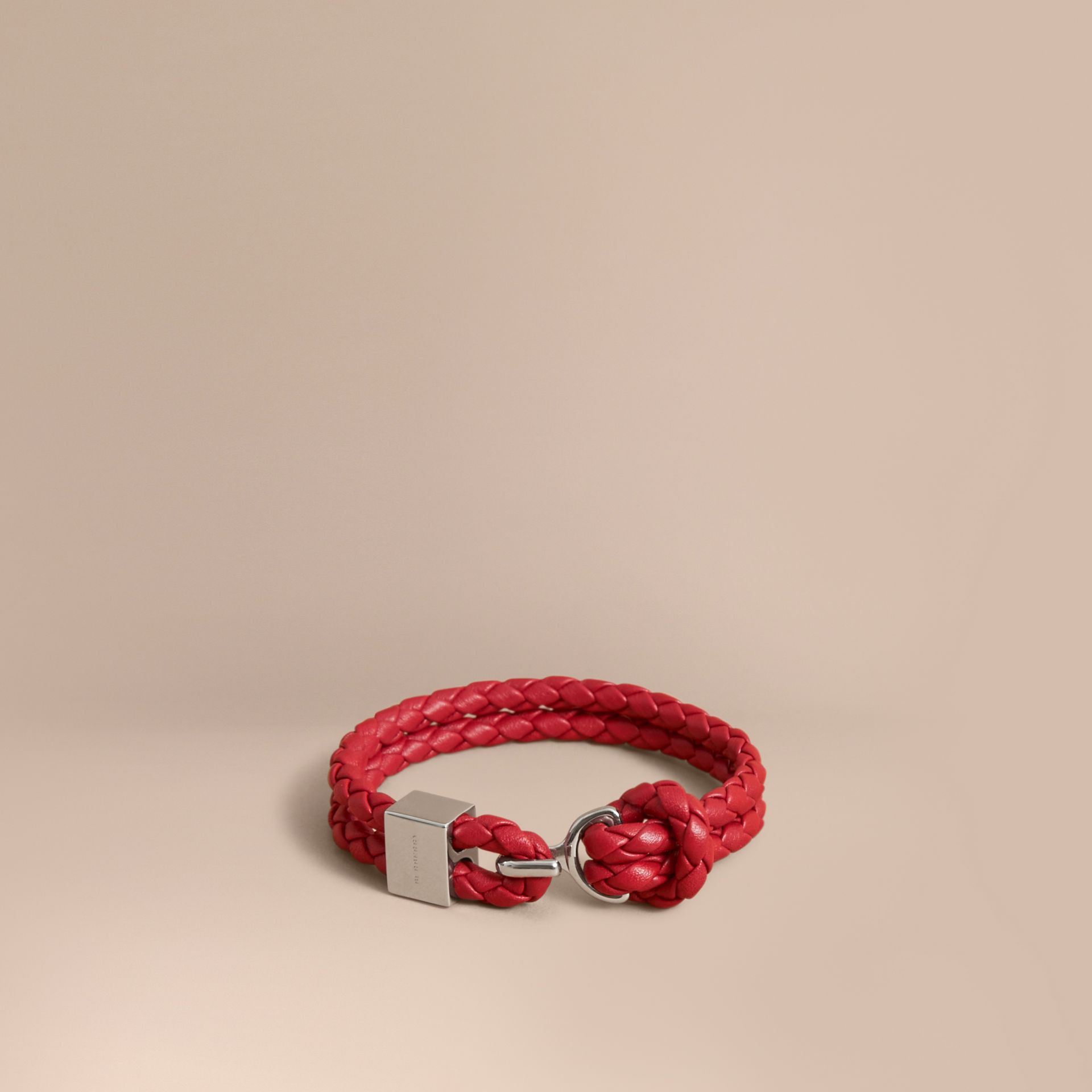 Braided Leather Bracelet Parade Red - gallery image 1