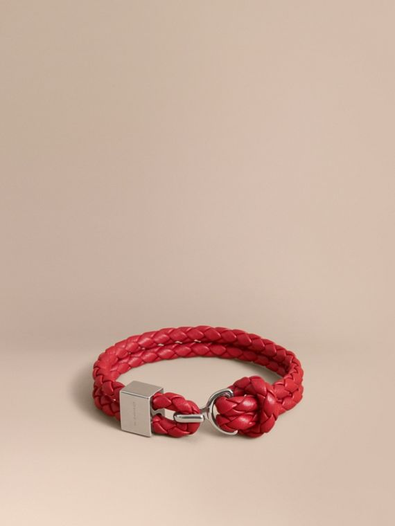 Braided Leather Bracelet Parade Red