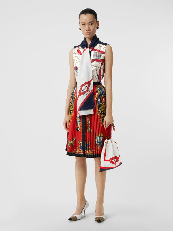 Archive Scarf Print Silk Pouch in Bright Red/navy - Women | Burberry - cell image 2