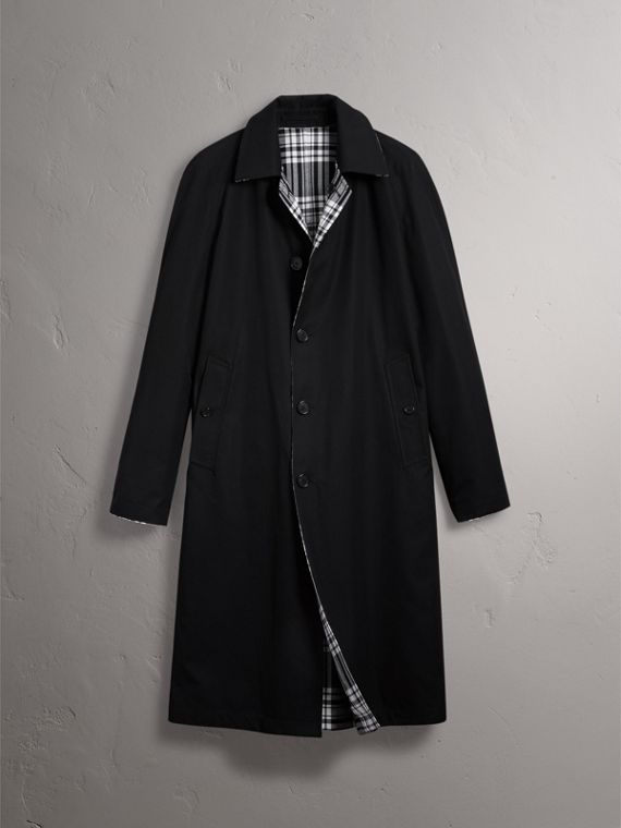 Cappotto car coat reversibile in gabardine e lana con motivo tartan (Nero) - Uomo | Burberry - cell image 3