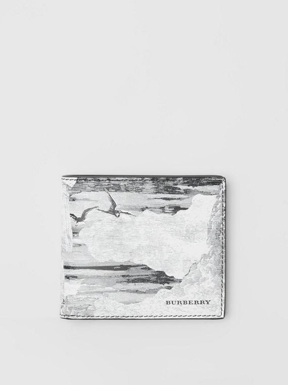 Dreamscape Print Leather International Bifold Wallet in Black/white