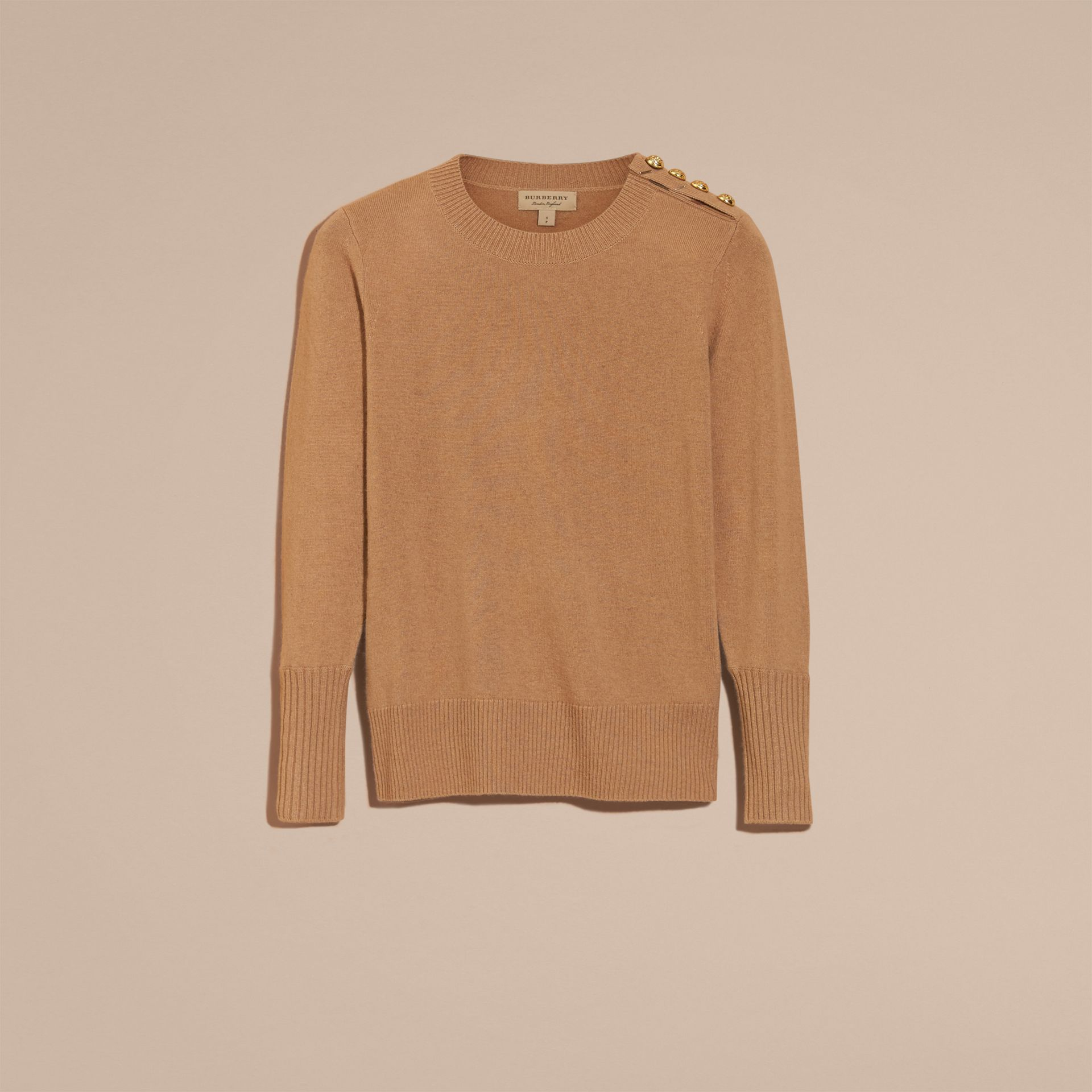 Camel Cashmere Sweater with Crested Buttons Camel - gallery image 4
