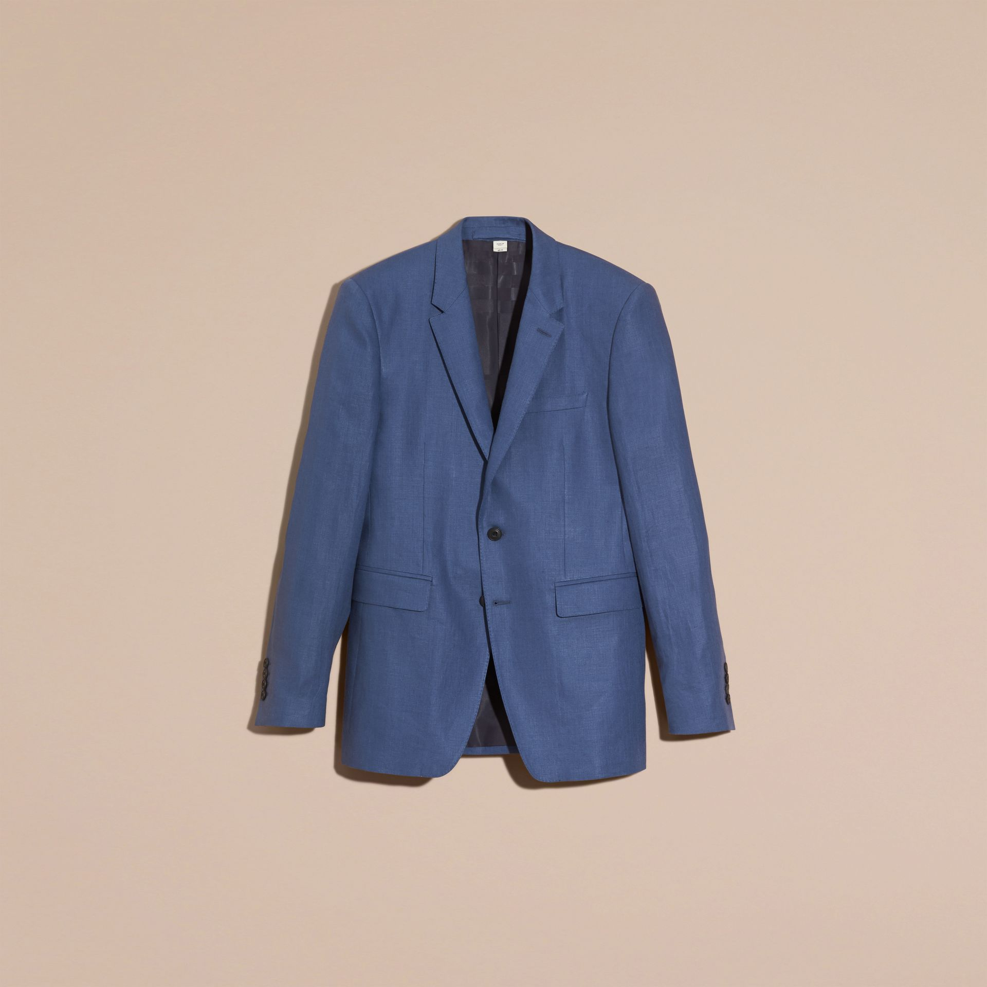 Bright steel blue Modern Fit Linen Tailored Jacket - gallery image 5