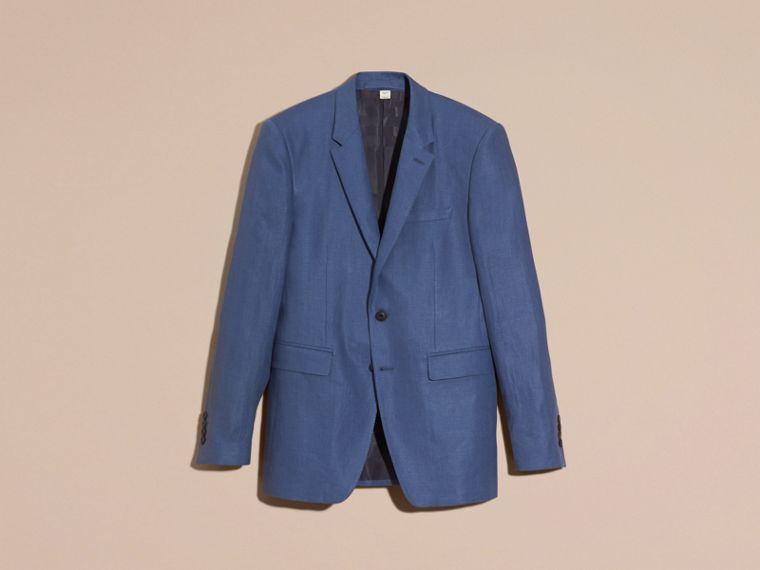 Bright steel blue Modern Fit Linen Tailored Jacket - cell image 4