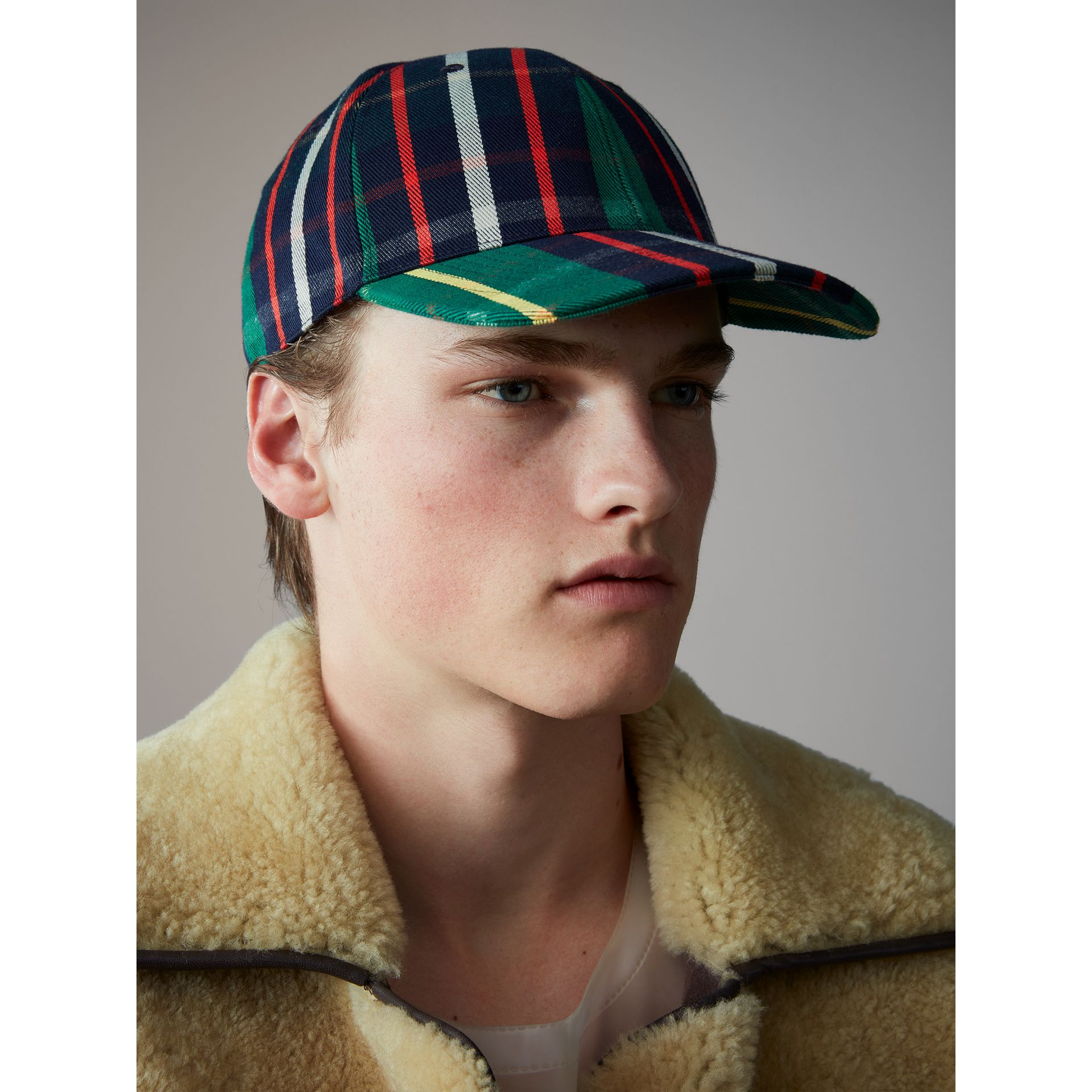 Check Baseball Cap in Forest Green | Burberry - gallery image 4