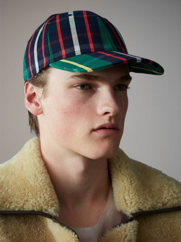 Check Baseball Cap in Forest Green | Burberry - cell image 3
