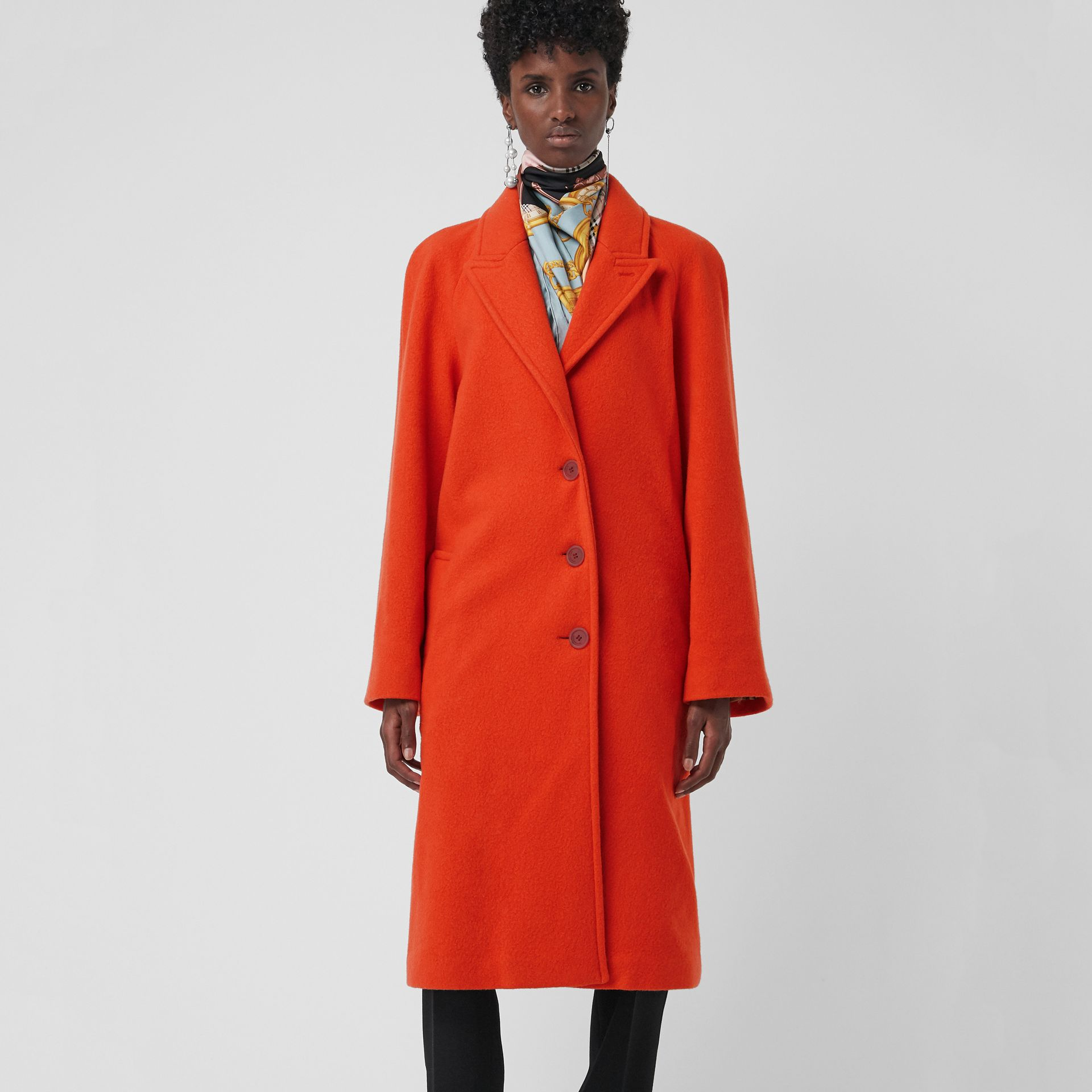 Wool Blend Tailored Coat in Bright Red - Women | Burberry Singapore - gallery image 4