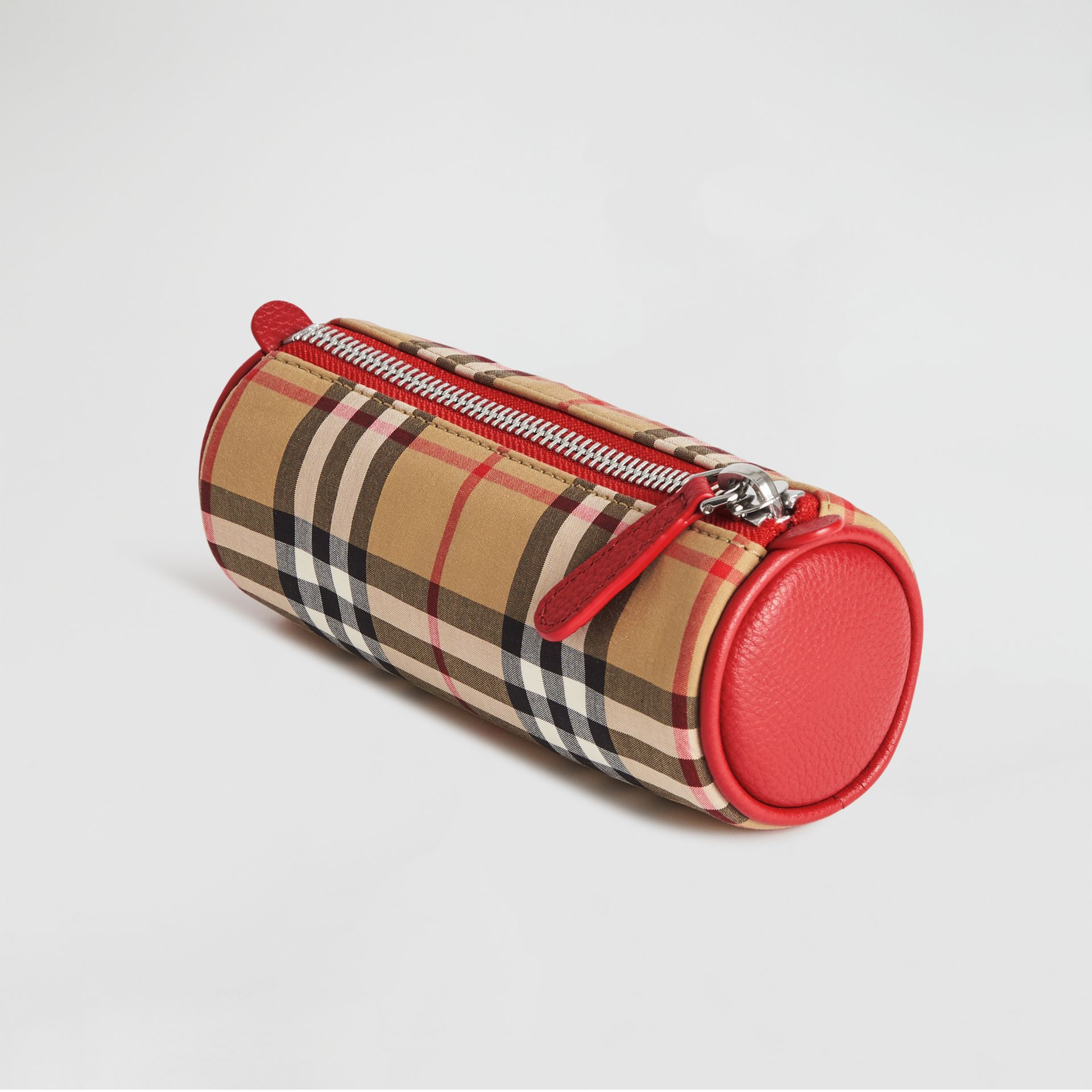 Embroidered Archive Logo Vintage Check Pencil Case in Antique Yellow | Burberry - gallery image 2