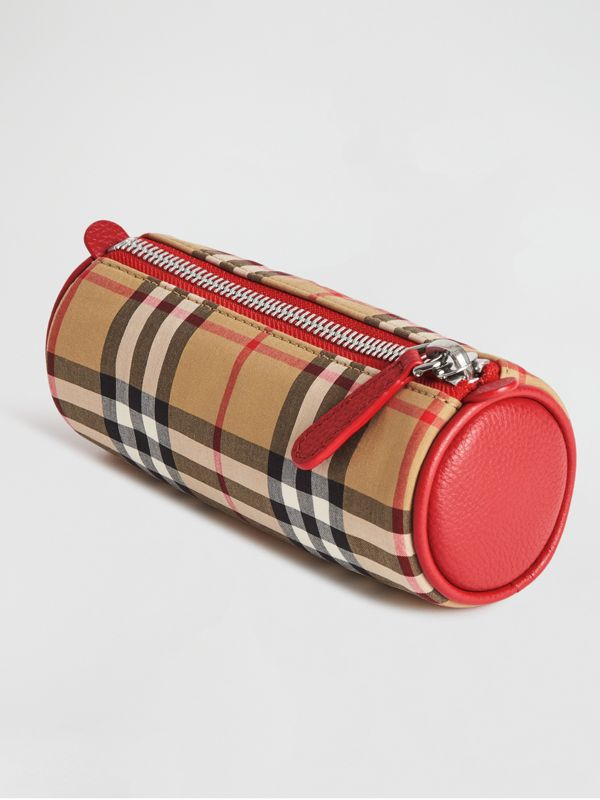 Embroidered Archive Logo Vintage Check Pencil Case in Antique Yellow | Burberry Hong Kong - cell image 2