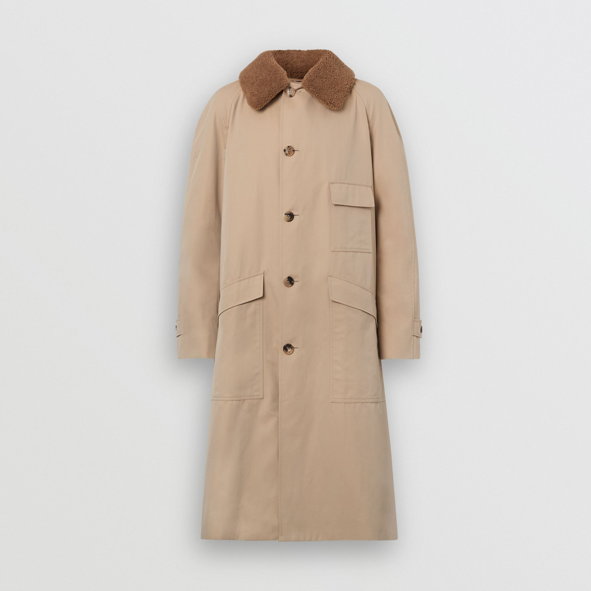 Detachable Shearling Collar Cotton Car Coat in Honey | Burberry - gallery image 3