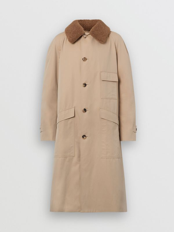 Detachable Shearling Collar Cotton Car Coat in Honey | Burberry - cell image 3