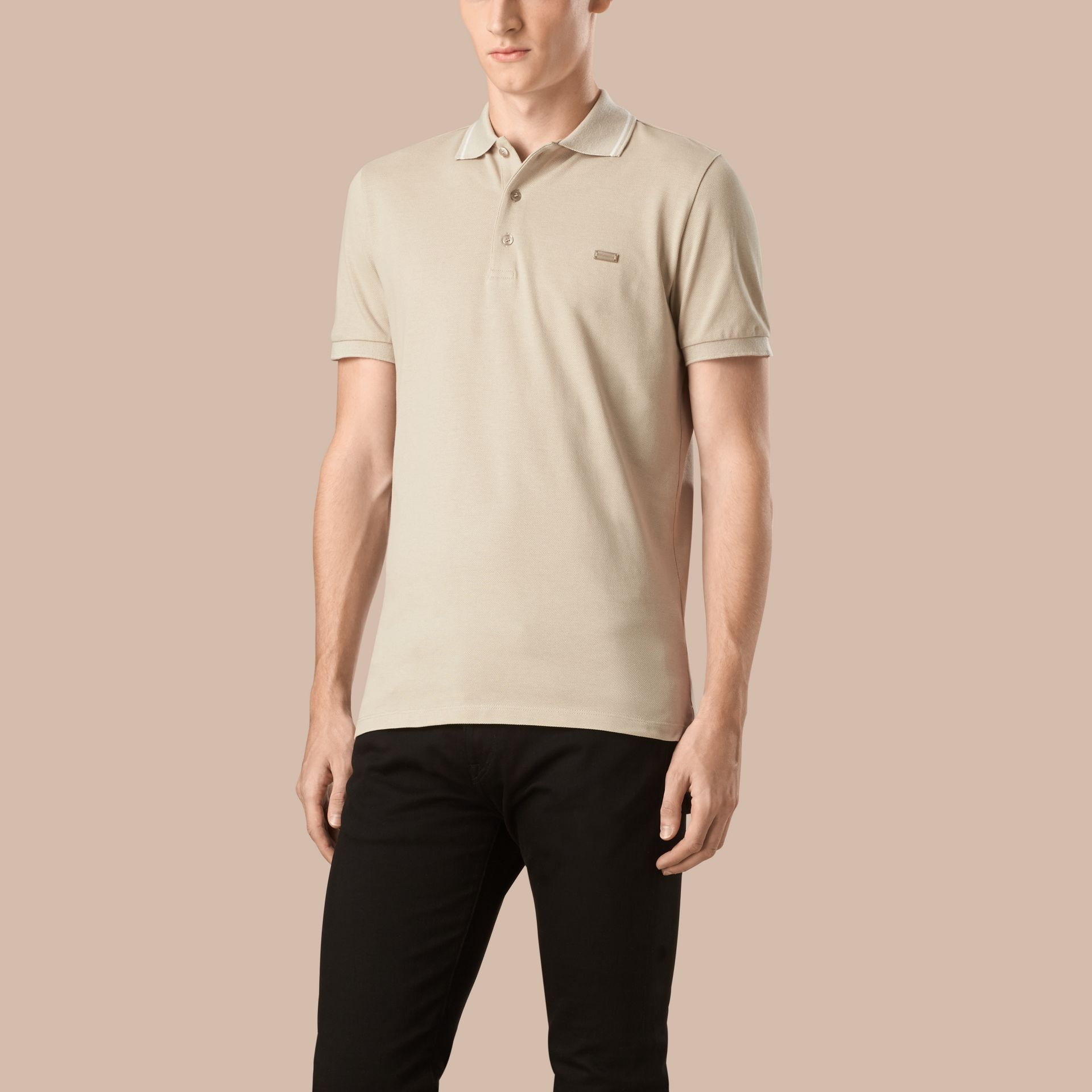 Stone/white Contrast Trim Cotton Piqué Polo Shirt Stone/white - gallery image 1
