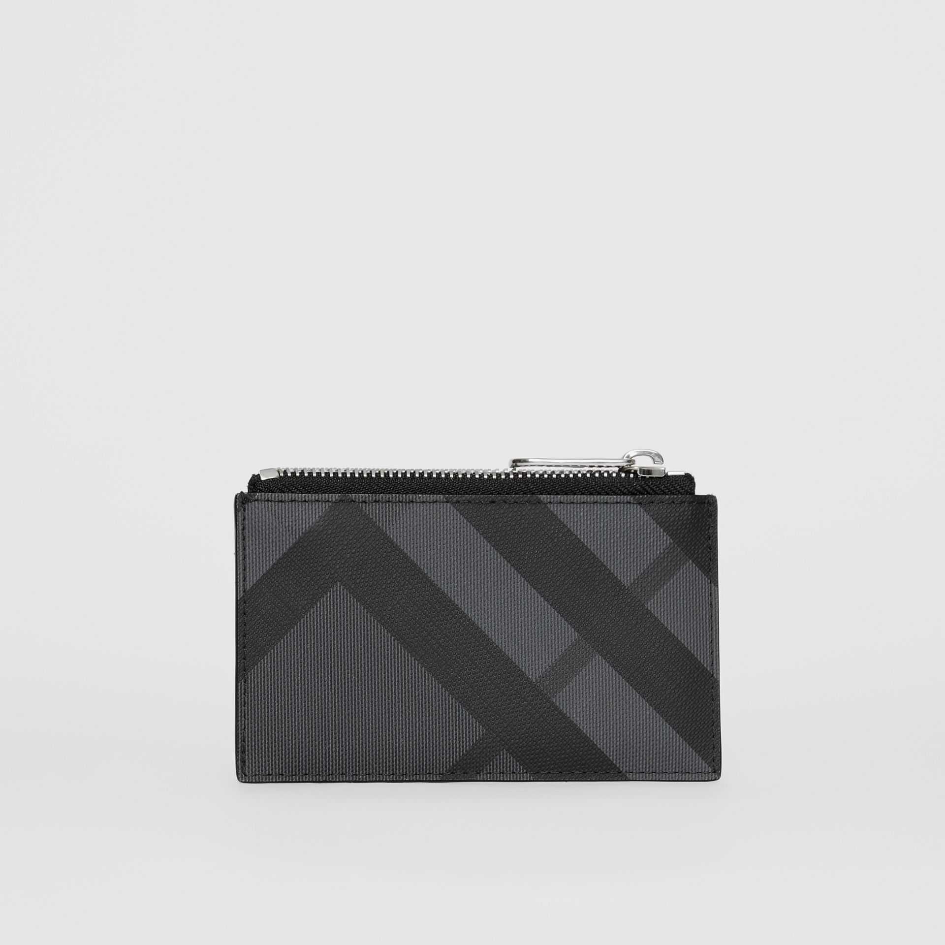 Equestrian Knight Print and Leather Zip Card Case in Charcoal/black - Men | Burberry Australia - gallery image 4