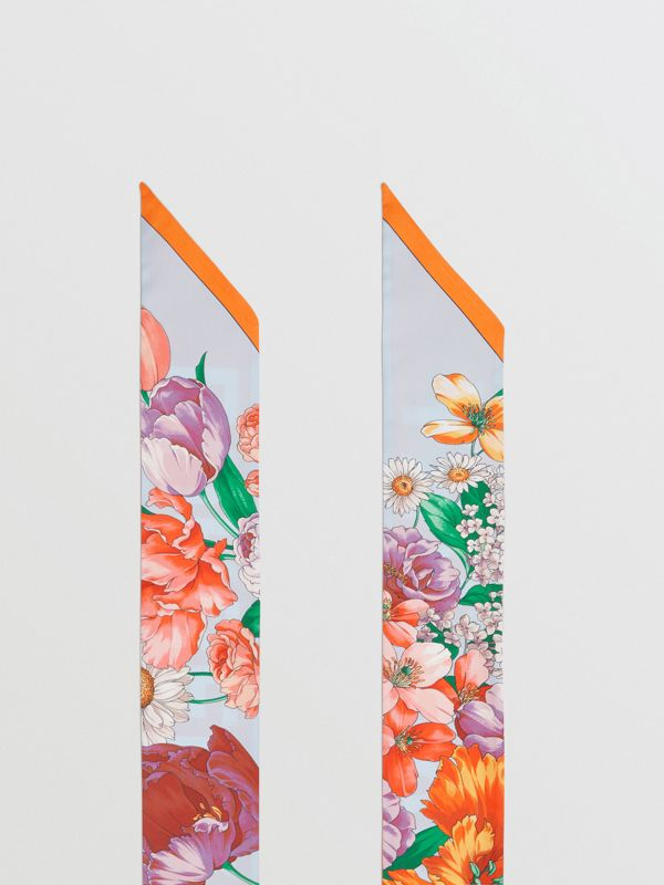 Floral and Logo Print Silk Skinny Scarf in Bright Orange | Burberry - cell image 2