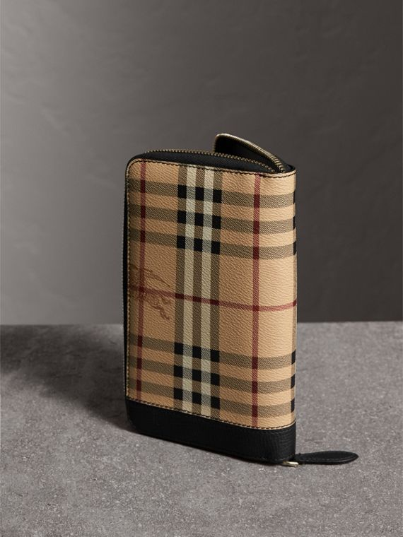 Haymarket Check and Leather Ziparound Wallet in Black - Men | Burberry United Kingdom - cell image 2