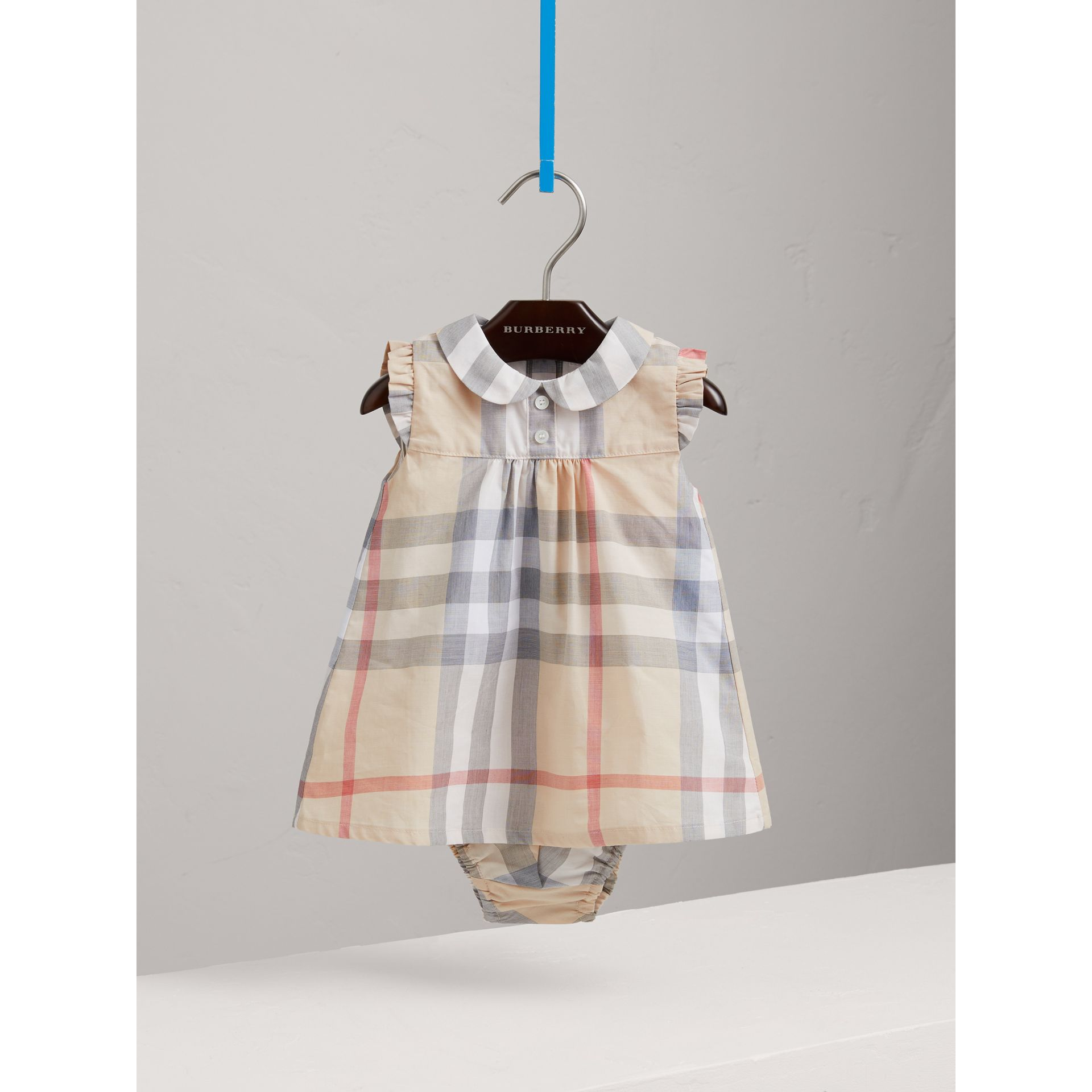 Washed Check Cotton Dress in Pale Classic - Girl | Burberry Canada - gallery image 0