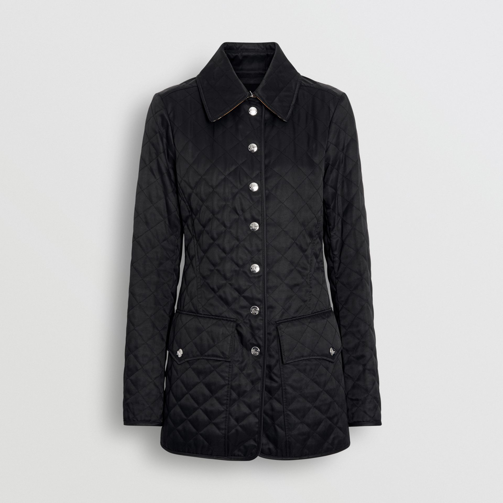 Logo Button Diamond Quilted Jacket in Black - Women | Burberry - gallery image 3