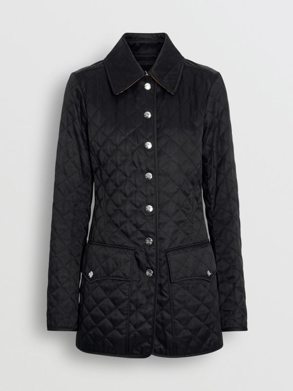 Logo Button Diamond Quilted Jacket in Black - Women | Burberry - cell image 3