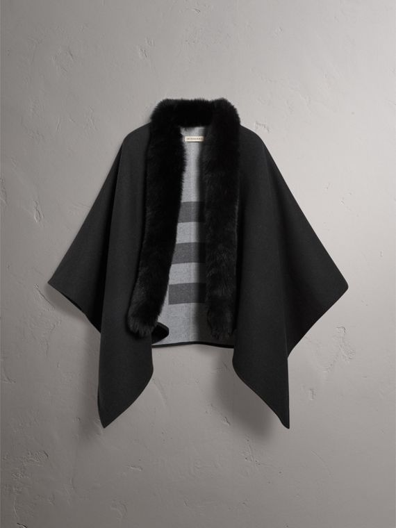 Fur-trimmed Merino Wool Poncho in Charcoal - Women | Burberry - cell image 3