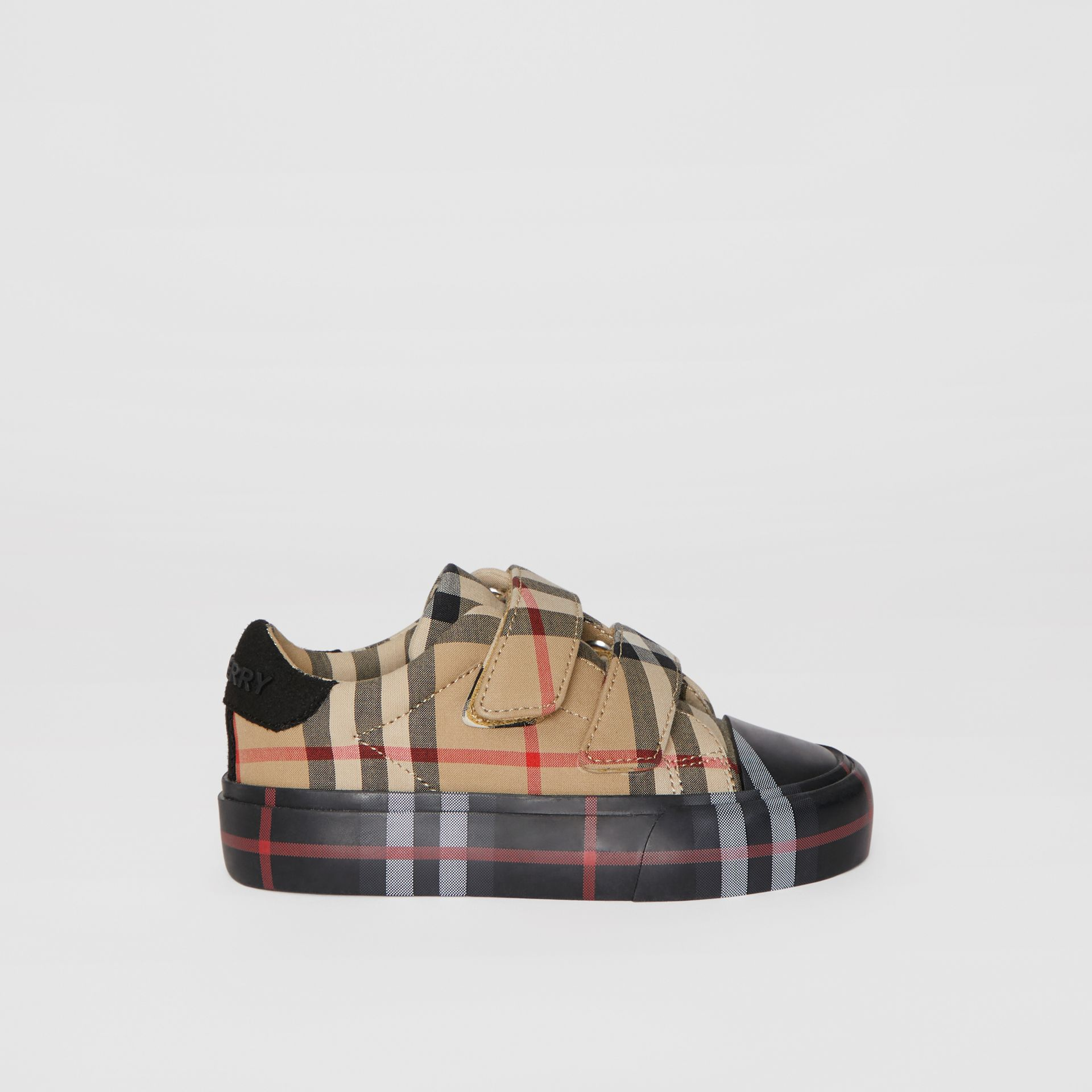 Contrast Check Cotton Sneakers in Archive Beige/black - Children | Burberry - gallery image 3