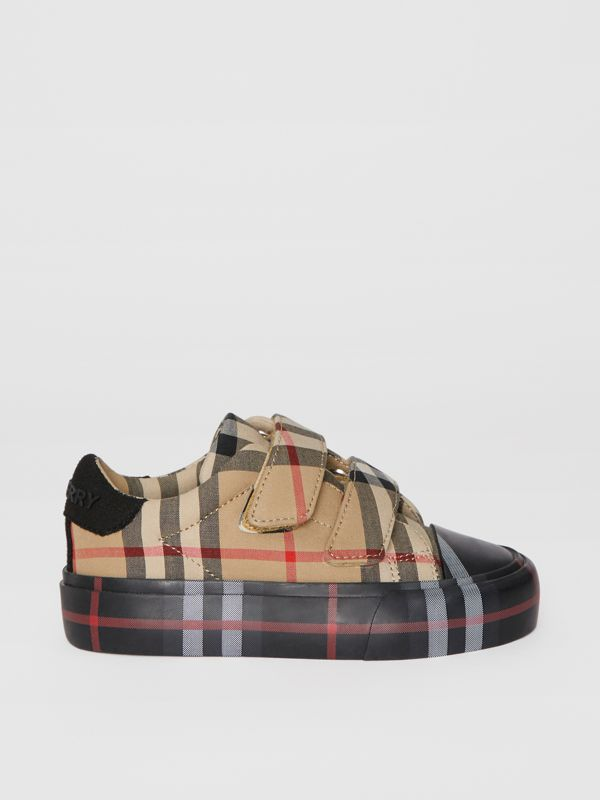 Contrast Check Cotton Sneakers in Archive Beige/black - Children | Burberry - cell image 3
