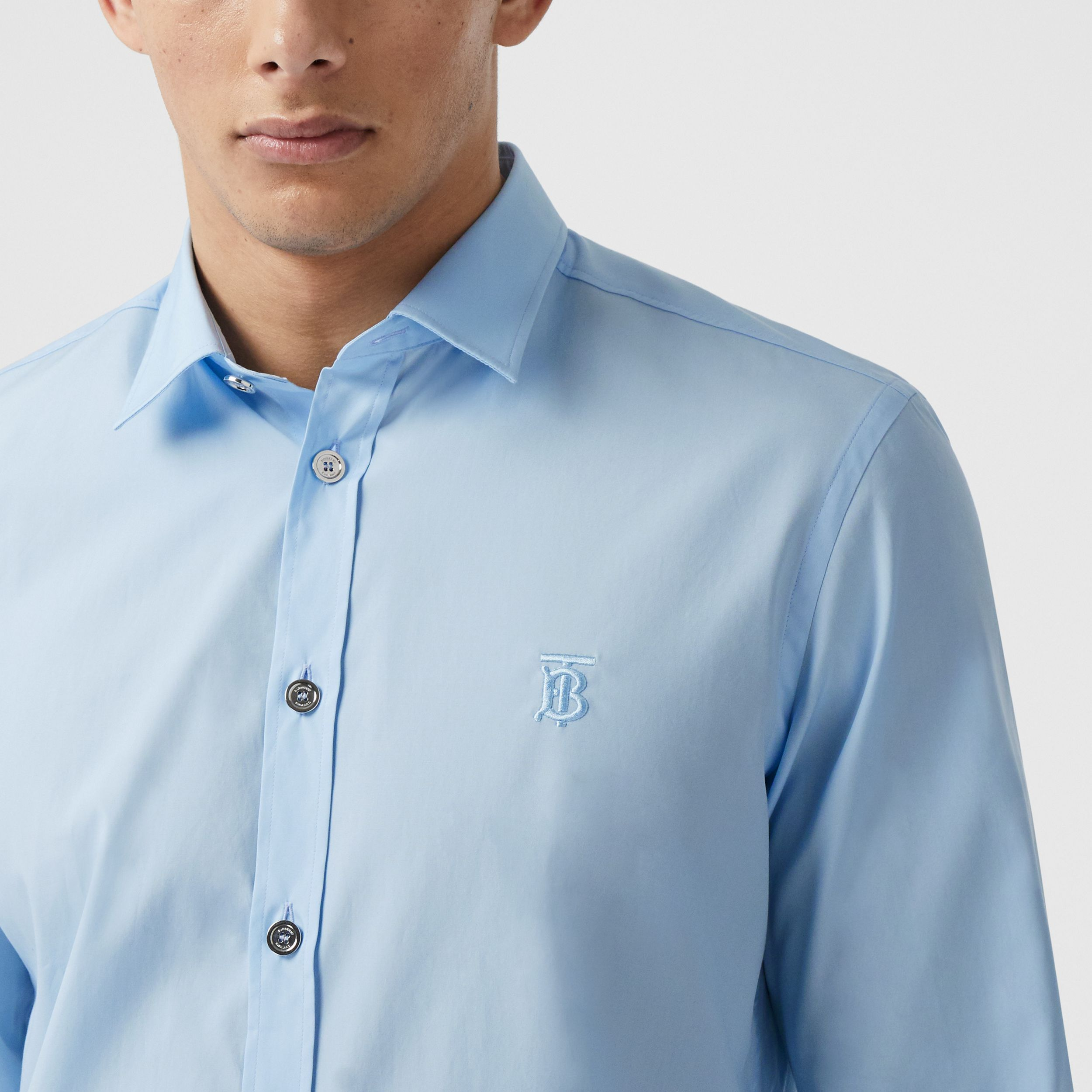 Monogram Motif Stretch Cotton Poplin Shirt in Pale Blue - Men | Burberry - 2