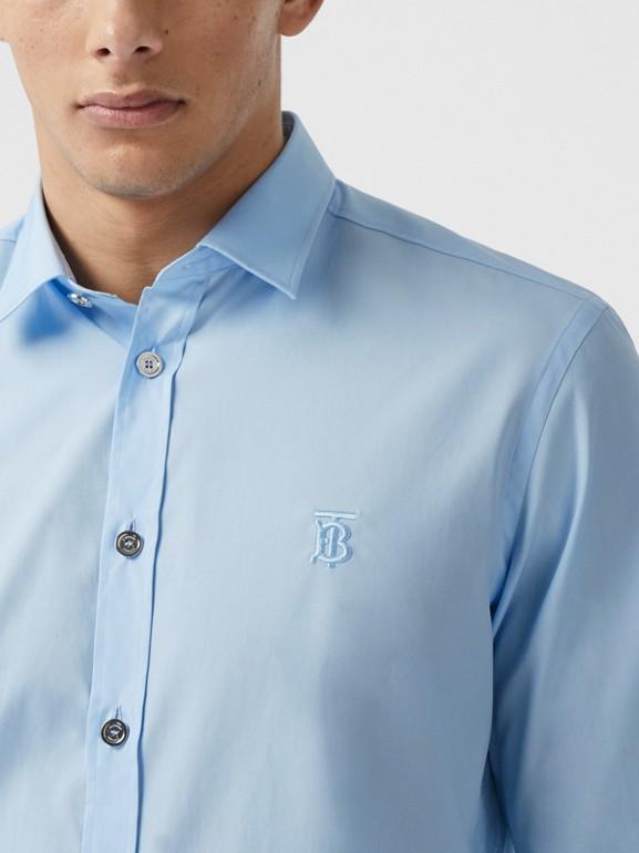 Monogram Motif Stretch Cotton Poplin Shirt in Pale Blue - Men   Burberry Australia - cell image 1